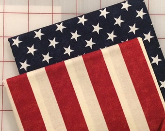 Set of 2 Fat Quarter cuts - Timeless Treasures - Stars and Stripes #29