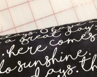 HALF YARD cut of Hello Sunshine - Script in Black by Gail Cadden for Timeless Treasures