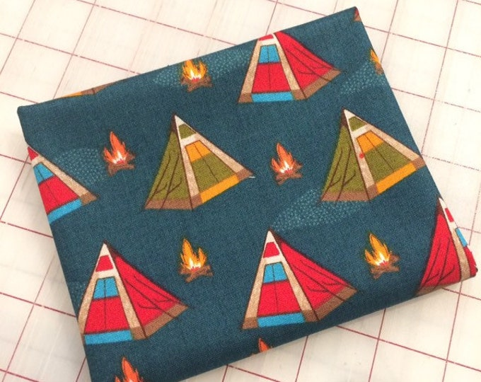 FAT QUARTER cut of Bear Camp - Tents in Night by Whistler Studios for Windham Fabrics