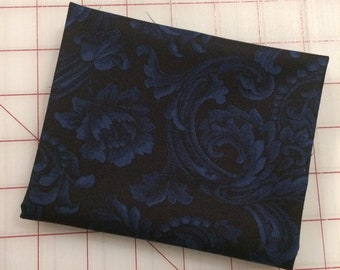 FAT QUARTER cut of Color Wall - Floral Brocade in Navy Blue by Mary Koval for Windham Fabrics