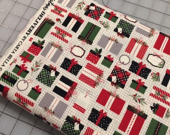 HALF YARD cut of Riley Blake -Christmas Delivery Presents in Cream by Carta Bella