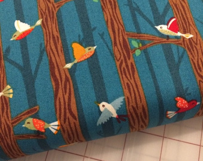 HALF YARD cut of Bear Camp - Birds on Branches in Dusk by Whistler Studios for Windham Fabrics