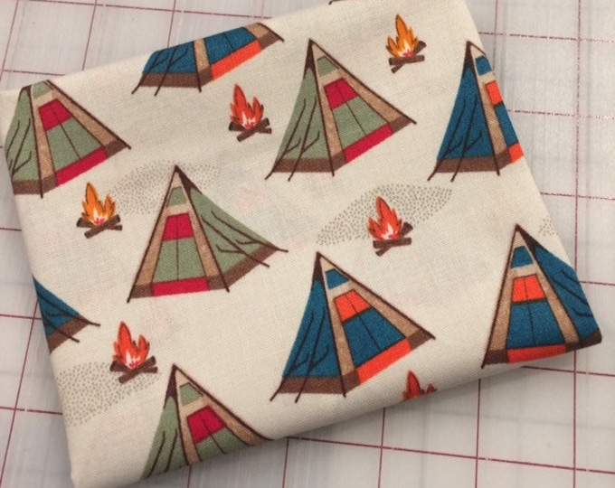 HALF YARD cut of Bear Camp - Tents in Khaki by Whistler Studios for Windham Fabrics