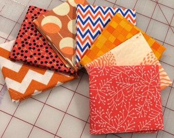 Bundle of Seven -  Orange Fat 16th cuts - Set #203