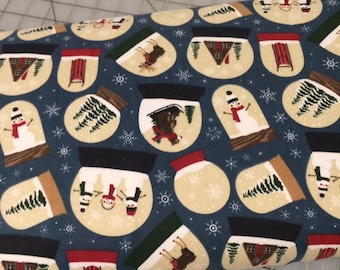 HALF YARD cut of Let It Snow  in Blue FLANNEL - Echo Park Paper Co.  for Riley Blake Designs
