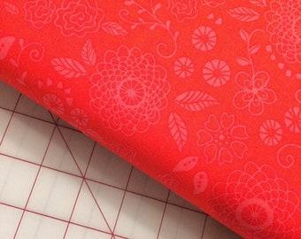 HALF YARD cut of Riley Blake - Wildflower Boutique - Line Work in Red