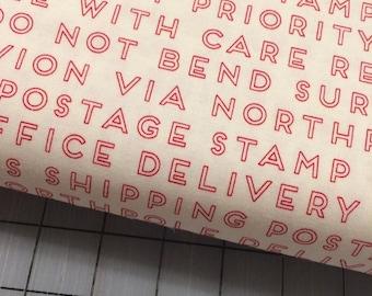 HALF YARD cut of Riley Blake - Christmas Delivery - Text in Cream by Carta Bella