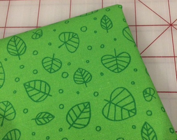 FAT QUARTER cut of Forest Spirit - Scattered Leaves in Veridian by Felice Regina for Windham Fabrics
