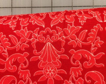 Riley Blake Designs- Half Yard cut - Into the Garden - Garden Damask in Red by Amanda Herring