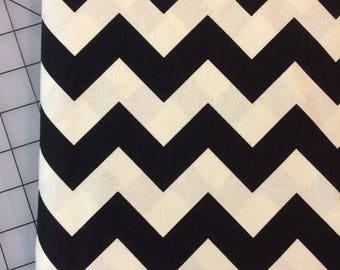 HALF YARD cut of Riley Blake Designs- Medium Chevron in Black - off white