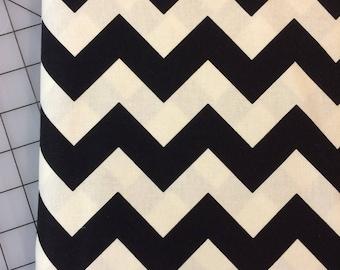 HALF YARD cut of Riley Blake Designs- Medium Chevron in Black - off white