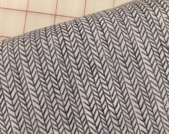 HALF YARD cut of Ooh La La - Organic Cotton - Herringbone in Gray by Carolyn Gavin for Windham Fabrics