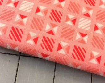 """HALF YARD cut of Penny Rose - 54"""" Linen & Lawn - Geometric in Pink- Cotton Lawn Fabric by Sue DaleyDesigns"""