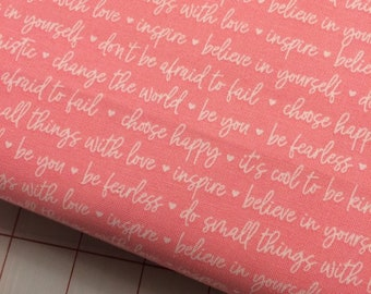 HALF YARD cut of Riley Blake - Winifred Rose - Text in Pink by Christopher Thompson