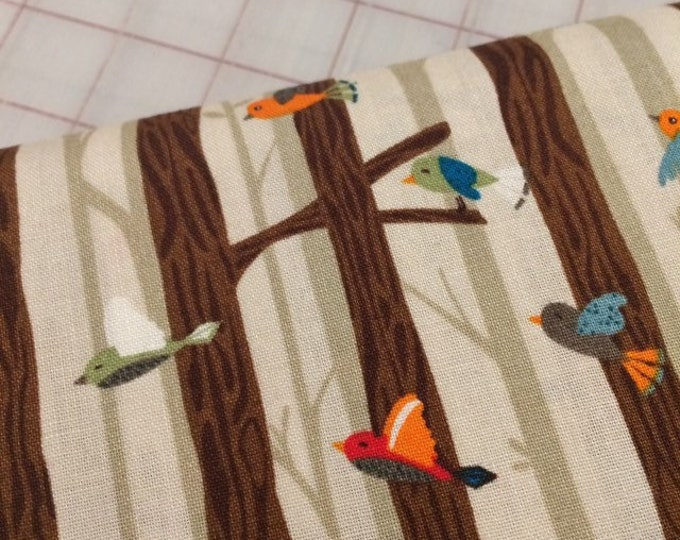 HALF YARD cut of Bear Camp - Birds on Branches in Khaki by Whistler Studios for Windham Fabrics