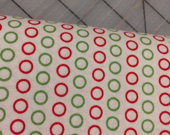 HALF YARD cut of Circle Dot in Christmas - Red and Green- Riley Blake
