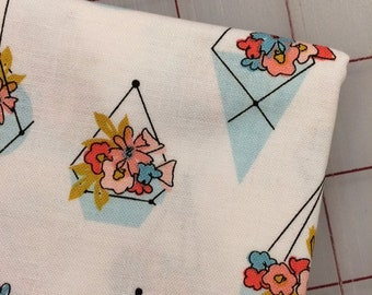 FAT QUARTER cut of Petals and Pots - Pots in White by Gabrielle Neil for Riley Blake
