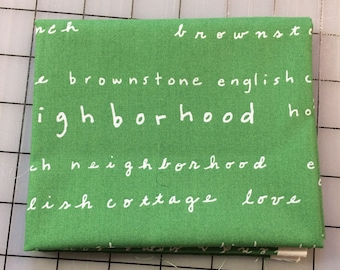 Timeless Treasures - FAT QUARTER cut of Neighborhood by Alison Beaton - Words - 41283-5 in green