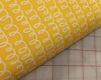 HALF YARD cut of Bounce - Squiggle in Yellow by Allison Harris for Windham Fabrics