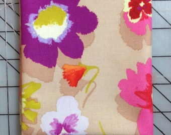 FAT QUARTER cut of Nel Whatmore - Secret Garden in Linen - Tan with peonies