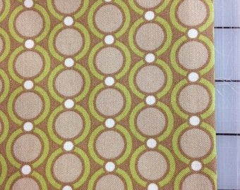 HALF YARD cut  - Joel Dewberry of Modern Meadow - Acorn Chain - JD32 Maple- Small brown circles, green with teal dots