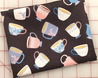 FAT QUARTER cut of My Cup of Tea - Dainty Little Charcoal by Whistler Studios for Windham Fabrics