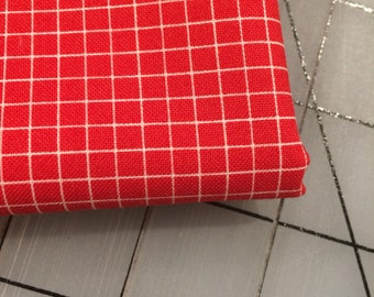 Windham Fabrics - FAT QUARTER cut - Coast To Coast - Grid in Red by Whistler Studios