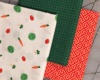Set of 3 Fat Quarter cuts - Michael Miller - Bunny's Garden with green  - Set #11