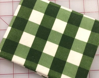 Flannel - Fat Quarter cut of Winterberry - Plaid in Green by Riley Blake Designs