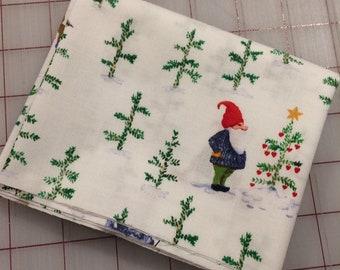 Winter Gnomes - FAT QUARTER cut of Organic Cotton - Tree Farm in White by Striped Pear Studio for Windham Fabrics