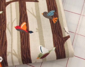 FAT QUARTER cut of Bear Camp - Birds on Branches in Khaki by Whistler Studios for Windham Fabrics
