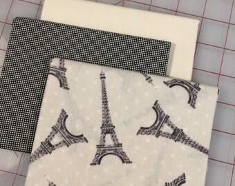 FAT QUARTER Bundle of 3 - Eiffel Tower - Set #13