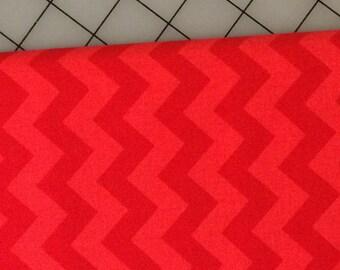 Riley Blake - FAT QUARTER cut of Small Chevron Tone on Tone in Red  -  100% cotton C400-81