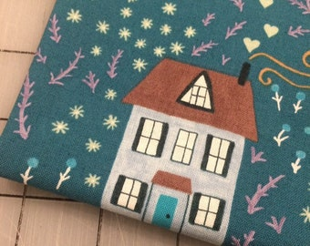 Windham Fabrics - FAT QUARTER cut of Bungalow - Little House in Teal