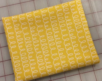 FAT QUARTER cut of Bounce - Squiggle in Yellow by Allison Harris for Windham Fabrics