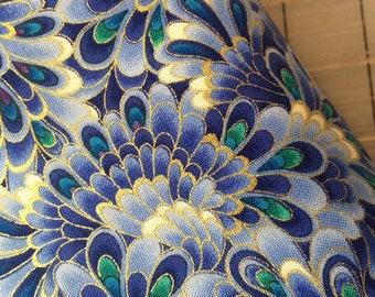 HALF YARD cut of Timeless  Treasures - Regency Metallic - Opulent Feathers in  Lavender
