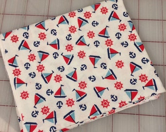 Toy Chest - FAT QUARTER cut of Sailboats in White **FQ cuts only**