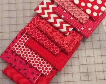 Set of Ten -  Red Fat Quarter cuts - Set #28