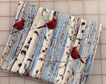 FAT QUARTER cut of Bird Song - Red Cardinals on Birch Tree by Timeless Treasures