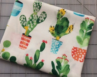 FQ cuts only***  Timeless Treasures - FAT QUARTER cut of Cactus Fabric - Watercolor Cacti - Stuck on You