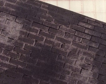HALF YARD cut of Unstoppable - Painted Brick in Charcoal by Whistler Studios for Windham Fabrics