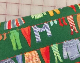 HALF YARD cut of Winter Gnomes in Organic Cotton - Gnome Laundry in Green by Striped Pear Studio for Windham Fabrics
