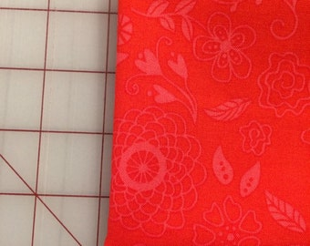 Riley Blake - FAT QUARTER cut of Wildflower Boutique - Line Work in Red
