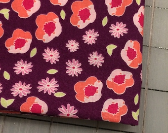 FAT QUARTER cut of Front Yard - Flower Edging in Blackberry **FQ cuts only**