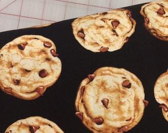 HALF YARD cut of Tossed Cookies on Black