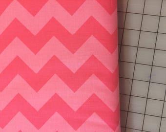 HALF YARD cut of Riley Blake Designs - Medium Chevron- Tone on Tone in Hot Pink