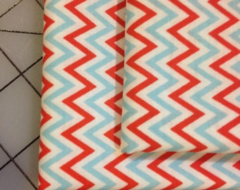 Dena Designs - Fox Playground Fat Quarter cut - Chevron in Aqua- PWDF192 - teal and red chevron on white background