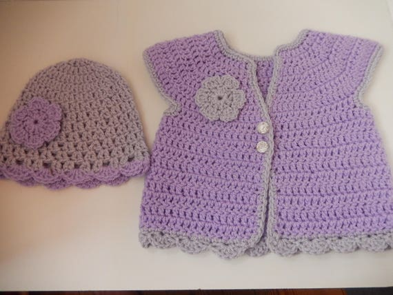 331bc4f7e70e crocheted baby top   girls sweater and hat set   purple and