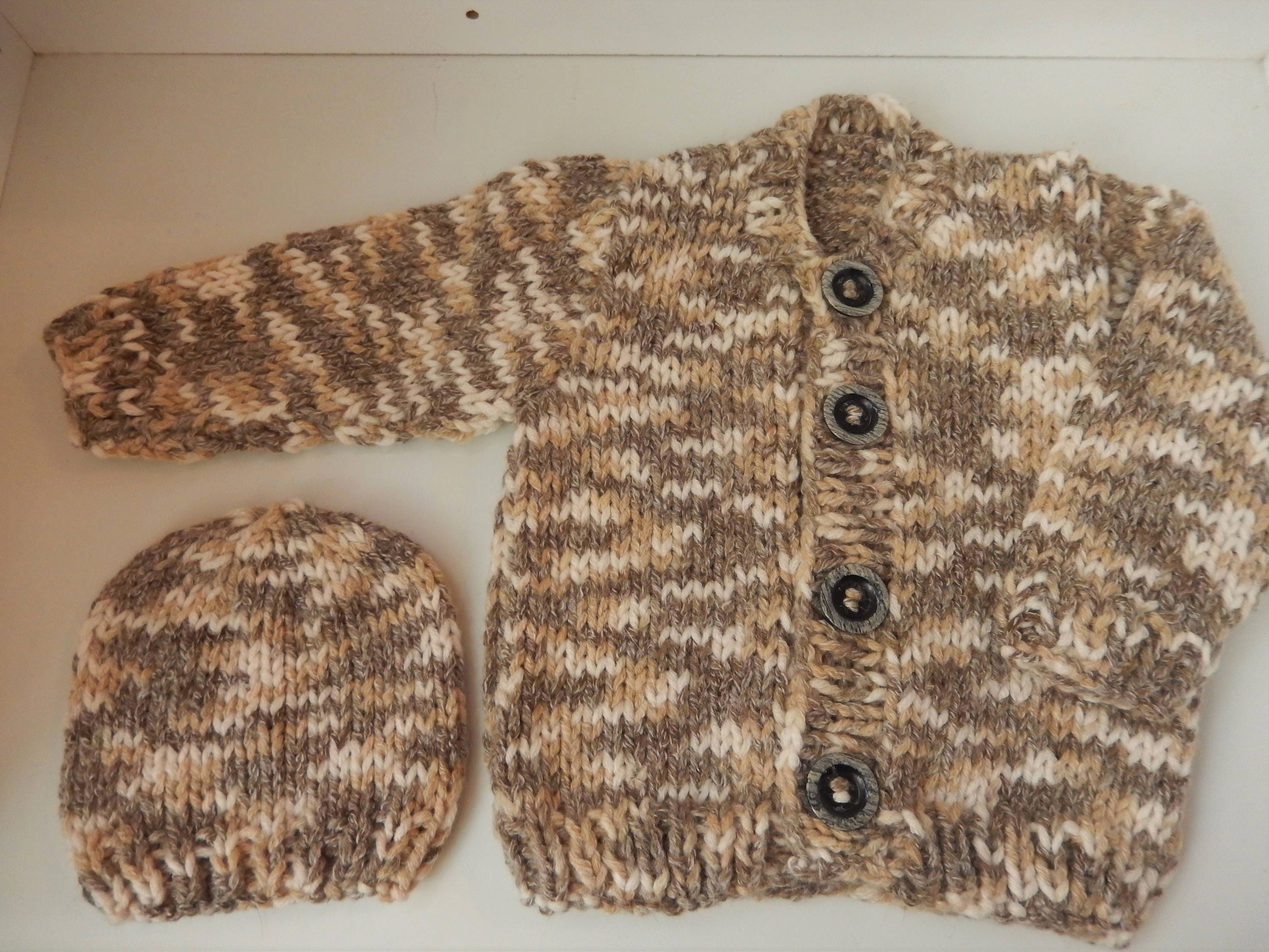c225fb1ba hand knitted baby boy cardigan   baby sweater and hat set