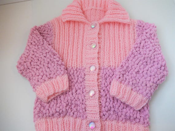 994bb9f4b hand knitted baby girl cardigan   girl s pink sweater